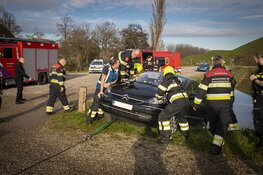 Belgische automobiliste met auto bijna te water