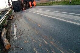 Vrachtwagen met boomstammen gekanteld op N201: weg weer vrij